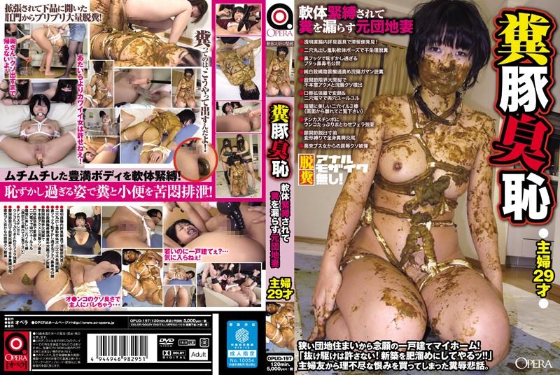 [OPUD-197] 糞豚臭恥 軟体緊縛されて糞を漏らす元団地妻 おばさん Humiliation Muscle (Fetish) 人妻・熟女
